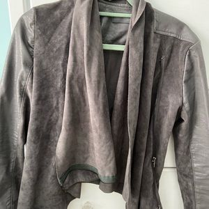 Grey leather and suede jacket